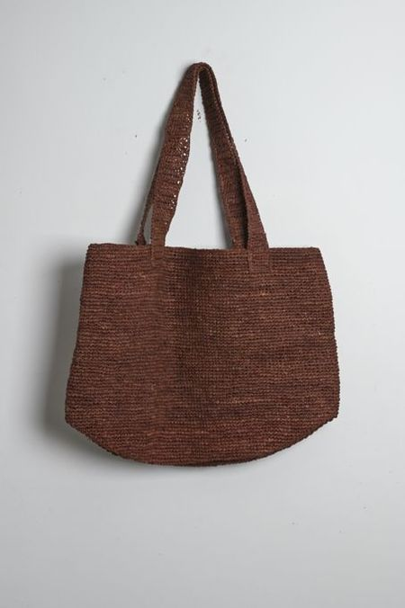Colorant Raffia Tote - Brown
