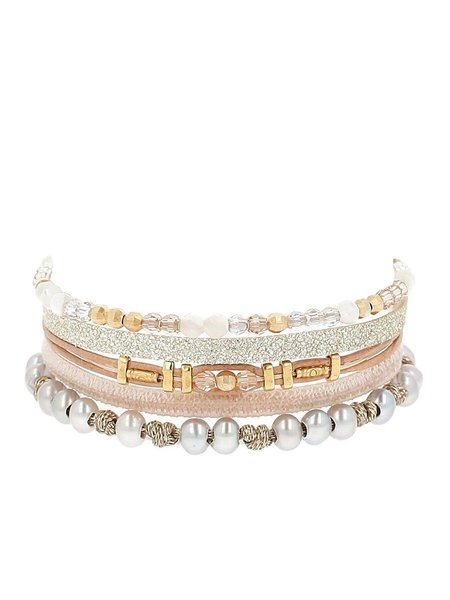 Chan Luu Multi Strand Mix Bracelet - Grey/Pearl