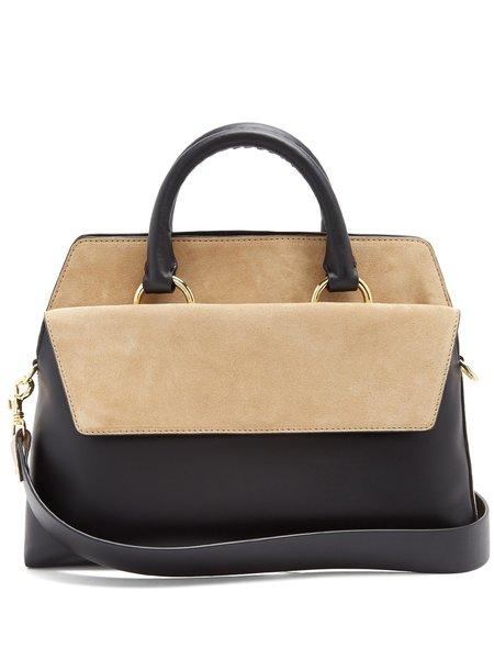 Diane Von Furstenberg Front Flap Satchel Leather & Suede Bag - Black/Beige