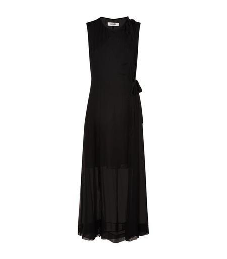 Diane Von Furstenberg Side Tie Silk Maxi Dress - BLACK