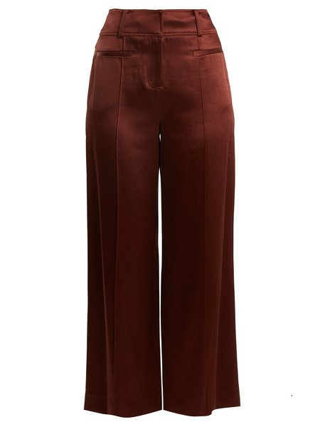 Diane Von Furstenberg Wide-Leg Pintucked Culottes - Mahogany