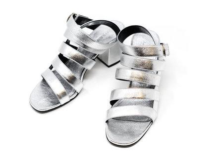 Alumnae Cage Sandal On Block Heel - Silver Metallic