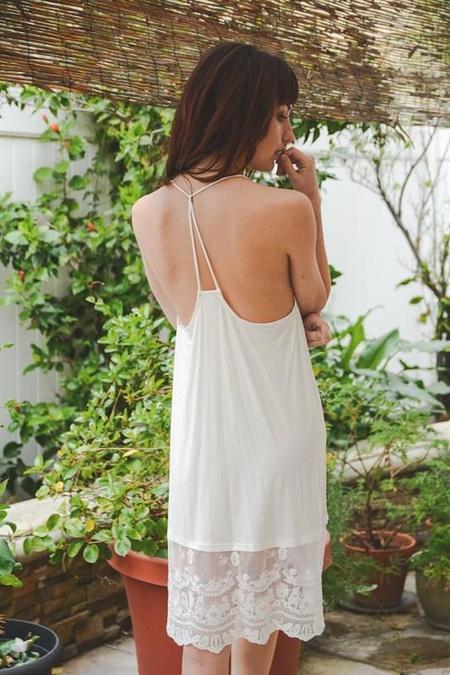 Leto Accessories & Intimates T-Back Midi Lace Slip - Ivory