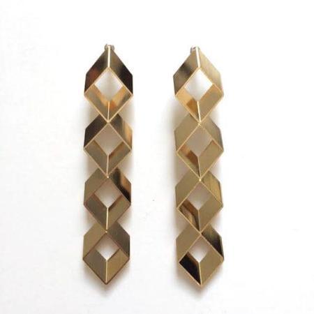 Haarstick Stacked Drop Rhombus Earrings - Gold