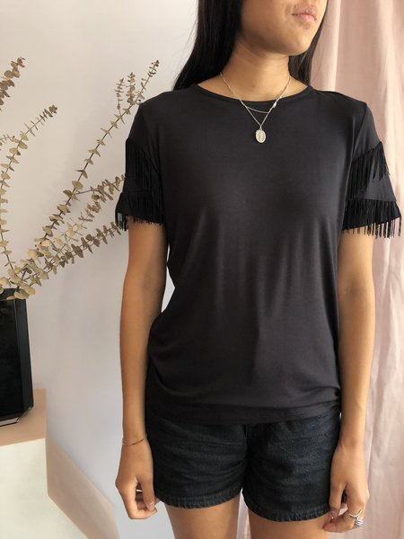 Josiane Perron Shirt with Fringes - Noir
