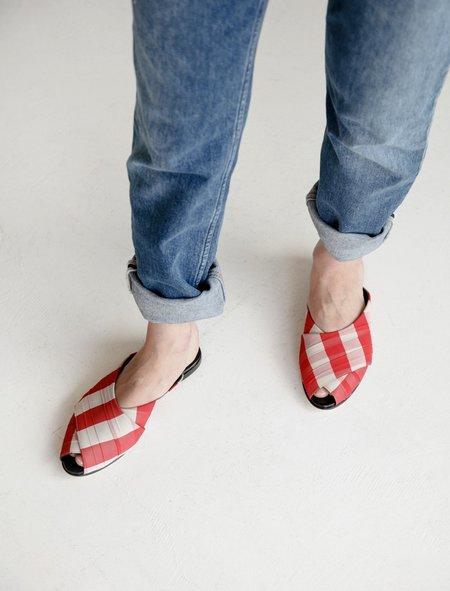 Trademark Gingham Pajama Sandal - Red And White