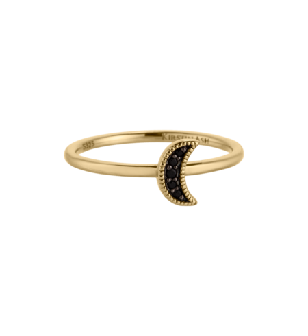 Kirstin Ash Moon Crescent Ring Black Spinel - Gold