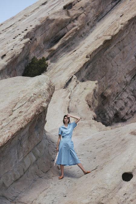 Carleen Angeleno Blouse - Blue Stripe