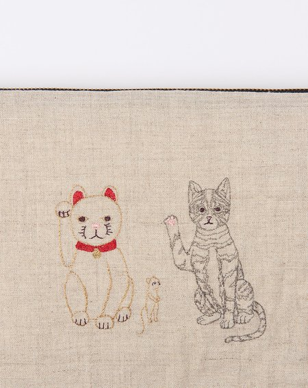 Coral & Tusk Lucky Cats Pouch - Natural