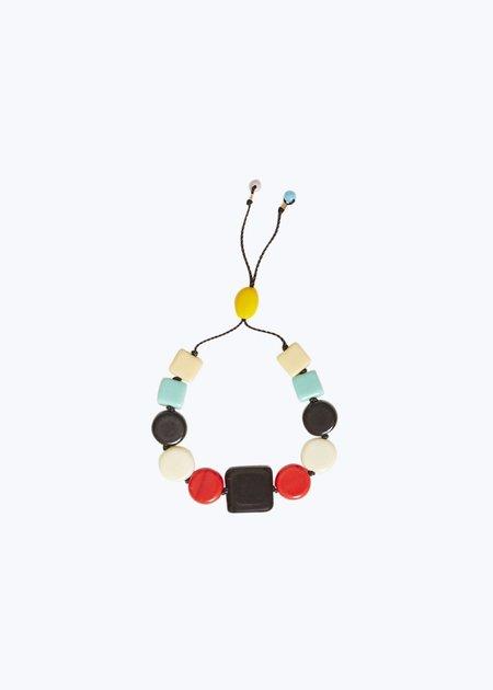 I. Ronni Kappos Black Square w/ Ivory Multi Bead Bracelet