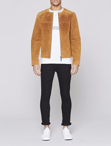 Native Youth Lamorna Real Suede Leather Bomber Jacket - Brown