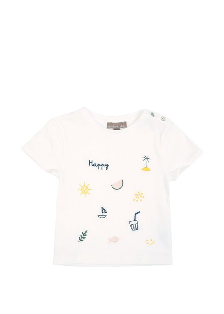 Kids Emile et Ida Embroidered Tee - Chalk