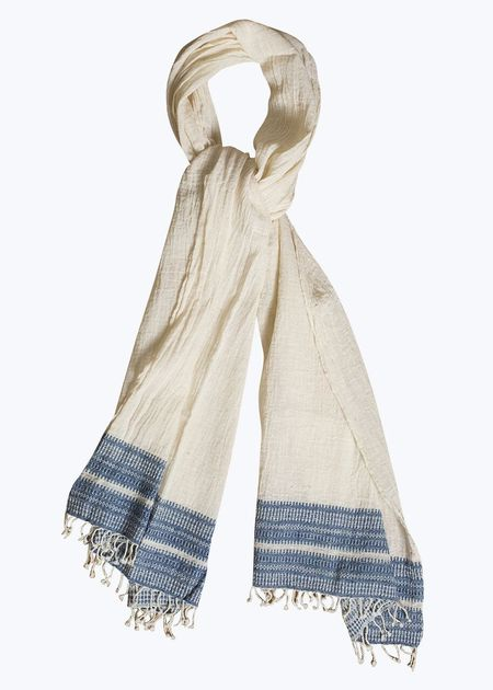 Auntie Oti Scarf - Natural/Blue Border
