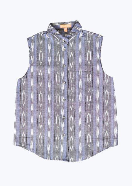 Thomas Sires S/L Button Down Shirt - Purple Ikat