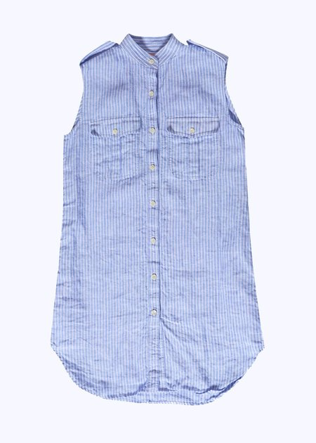 Thomas Sires S/L Washed Linen Dress - BLUE