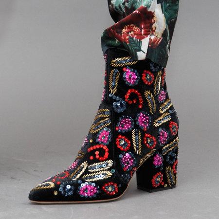 Loeffler Randall Isla Slim Ankle Bootie - Black Velvet/Multi Sequins