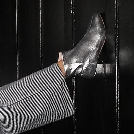 Loeffler Randall Carter Boot - Metallic Silver Lambskin