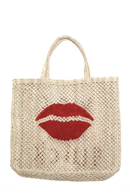 "The Jacksons ""Kiss Me Quick"" Jute Tote - Red"