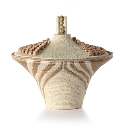 Charlie Sprout Lidded Basket Urn - Cream