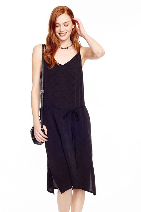 Seek Collective Kothi Silk Jacquard Slip Dress - BLACK