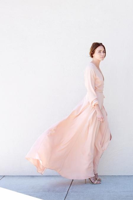 Kamperett Linden Silk Wrap Dress - Rose Quartz