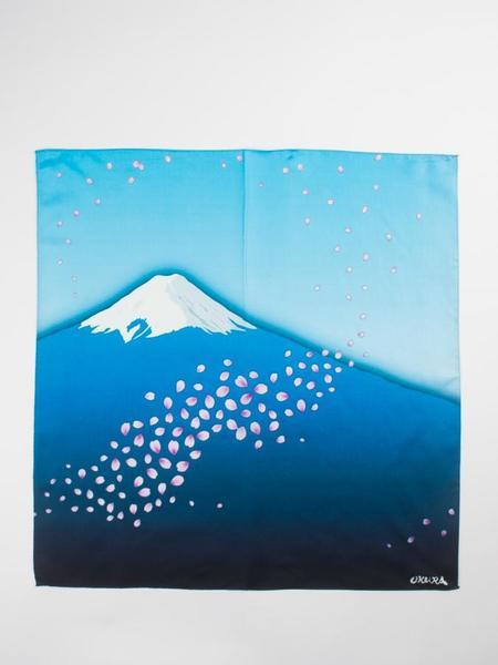 Blue Blue Japan Mt. Fuji & Sakura Fubuki Silk Bandana
