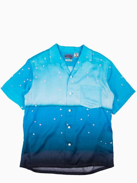 Blue Blue Japan Woven Rayon Mt. Fuji & Sakura Fubuki Short Sleeve Shirt