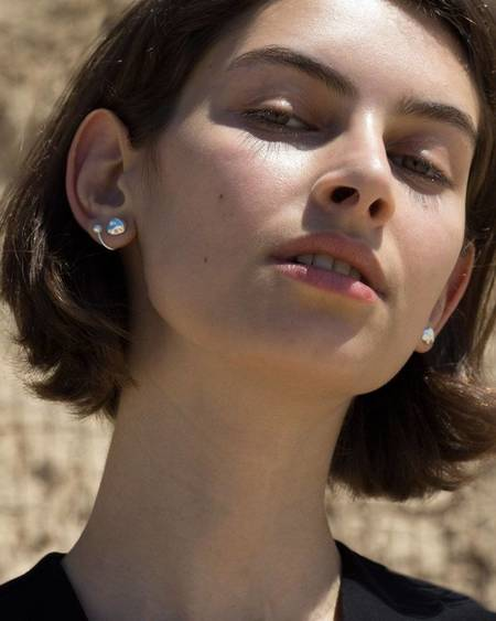 Knobbly Studio Twin Pearl Earrings - Silver