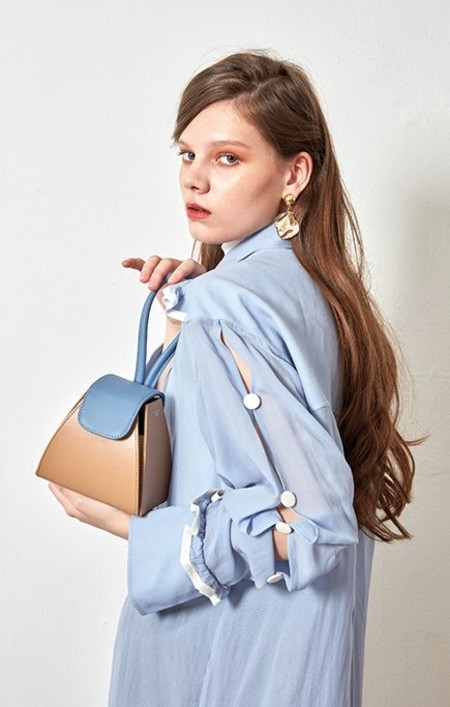 ATELIER PARK Color Block Triangle Bag - BEIGE