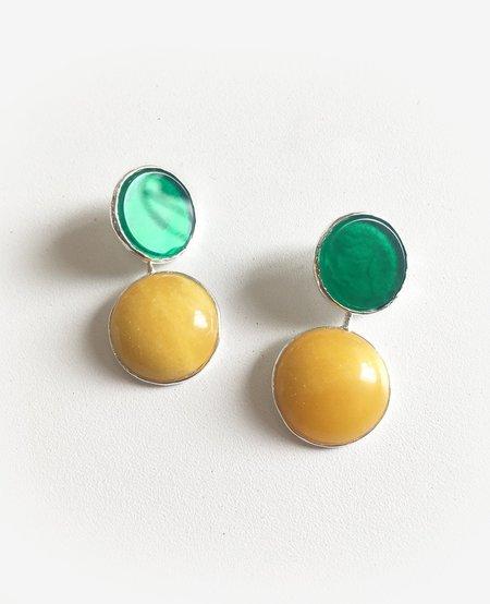 ORA-C jewelry MEXICO Earrings - Silver/Green/Yellow
