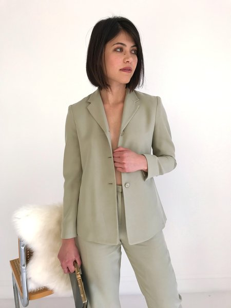 Kaleidos Vintage Soft Silk Pant Suit (Blazer + Pants) - Light Sage