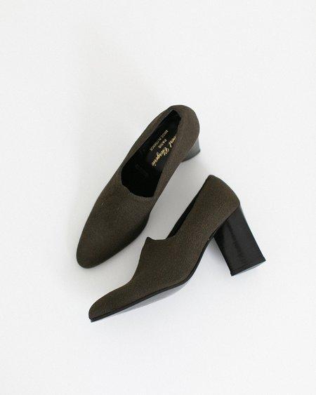 Kaleidos Vintage Robert Clergerie Triangle Chunk Heel - Dark Olive