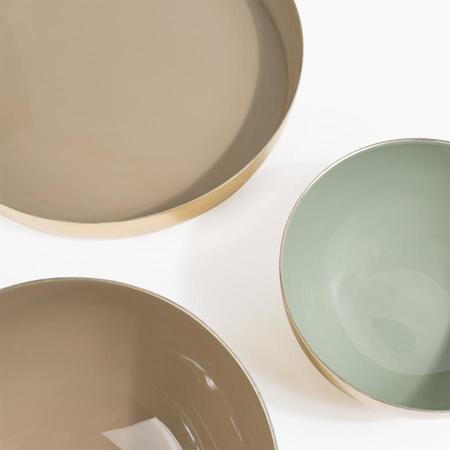 Poketo Enameled Aluminum Bowl in Medium Beige