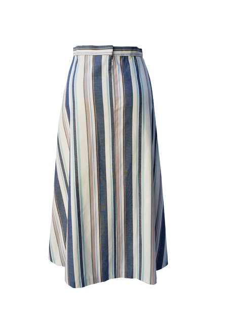 Christine Alcalay Canvas Stripe A-Line Skirt