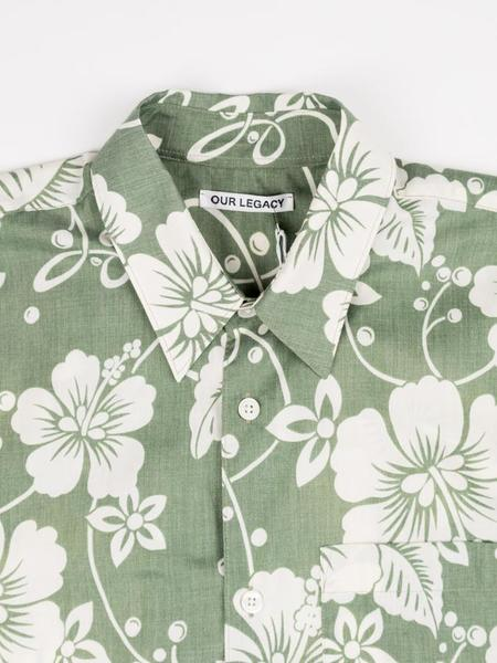 Our Legacy Initial Short Sleeve Shirt - Green Hibiscus