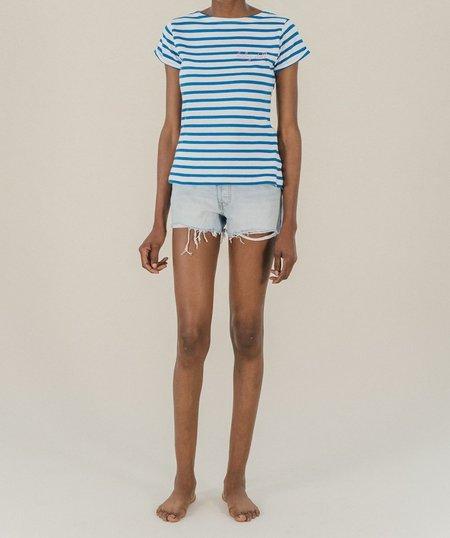 Maison Labiche Babydoll Striped Top - Blue/White