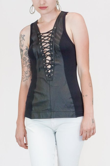 Illia Deep V Leather Lace Up Tank in Black