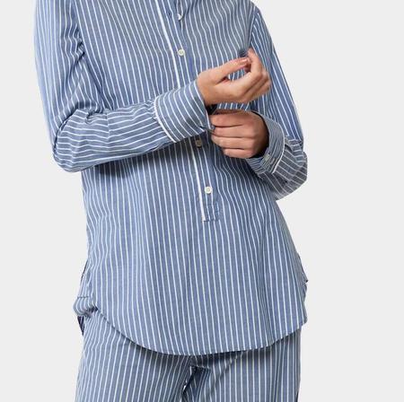 Laing Home Tilda Pure Cotton Pajama Set - Denim Blue & White