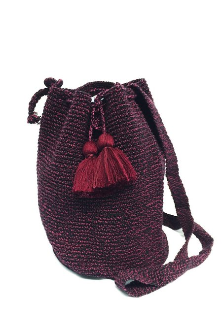 Estrella De Mar Crocheted Bucket Bag - Cabernet