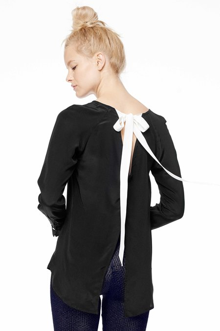 Raven and Lily Fina Tie-Back Blouse - BLACK