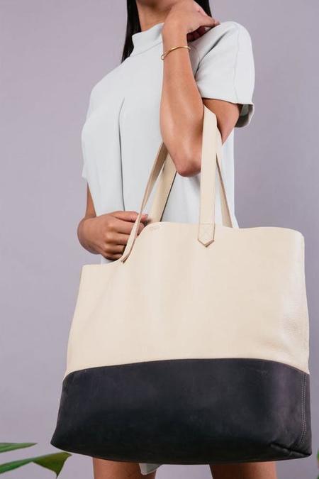 Nisolo Lori Color Block Leather Tote - Bone/Slate