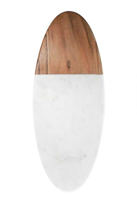 Be Home Marble and Olivewood Oval Board