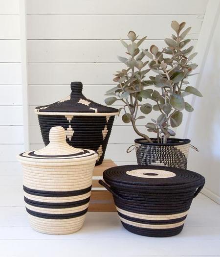 Rose & Fitzgerald Palm Diamond Basket - BLACK/NATURAL