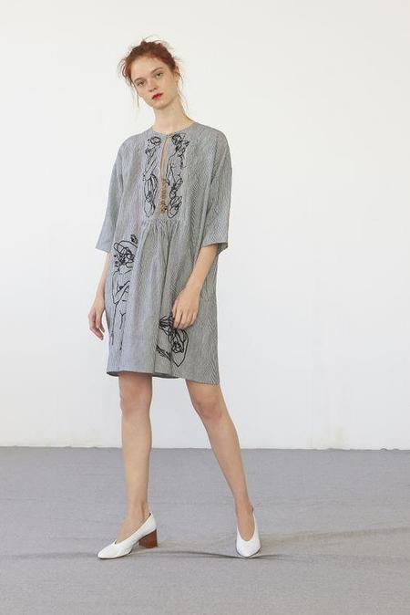 Heinui Gia Dress - Embroidered Stripes