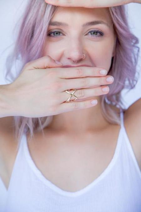 Nina Berenato Jewelry X Ring  - YELLOW GOLD