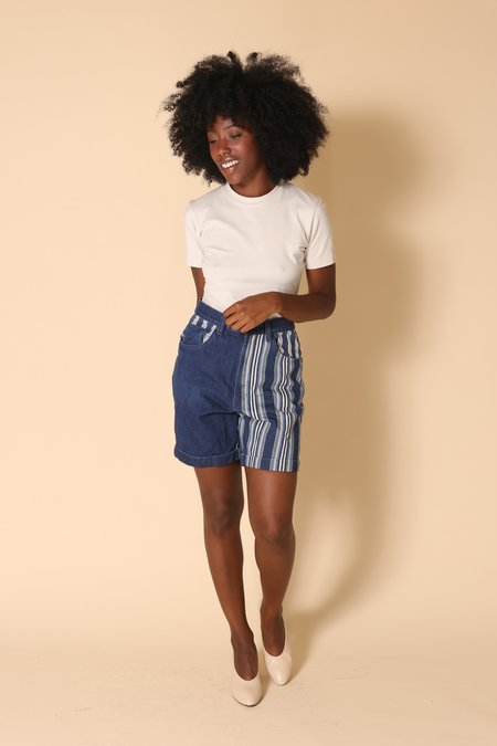 """INTENTIONALLY __________."" ARCHIVE 1357 DENIM STRIPE SHORT - INDIGO"