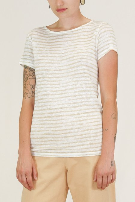Majestic Linen Striped Shortsleeve Button Back Tee - Dune