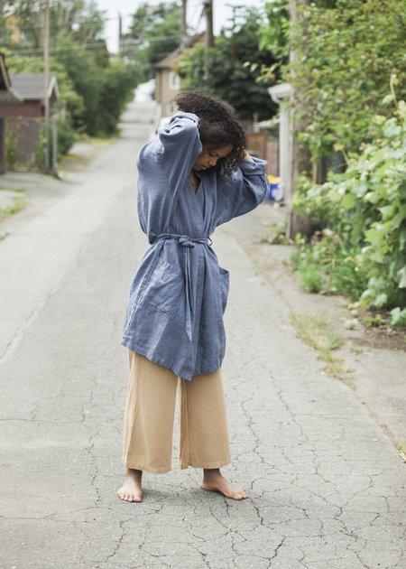Le Fil Rouge Linen Kimono Style Coat - Indigo