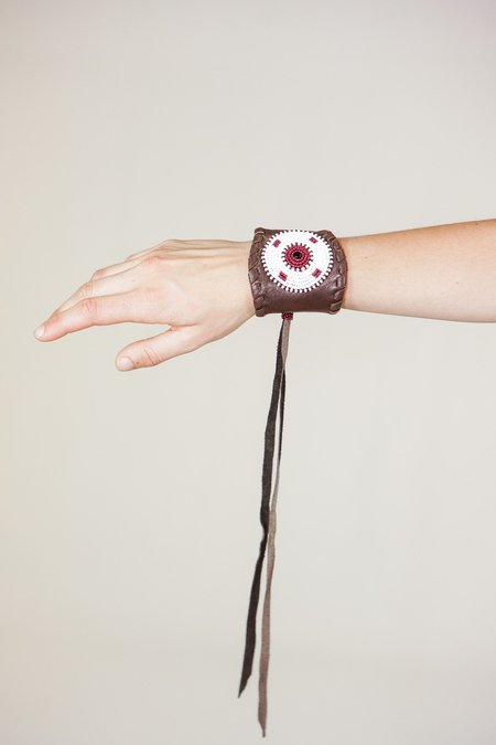Yolanda Out of Africa Leather Hand Beaded Cuffs