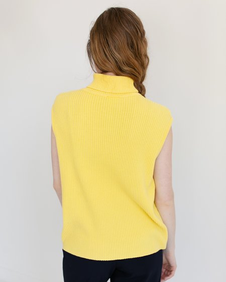 Kaleidos Vintage Fiorlini International Sleeveless Turtleneck - Lemon Yellow